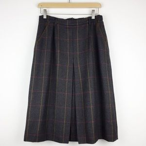 Vintage mini houndstooth and plaid dark wool skirt